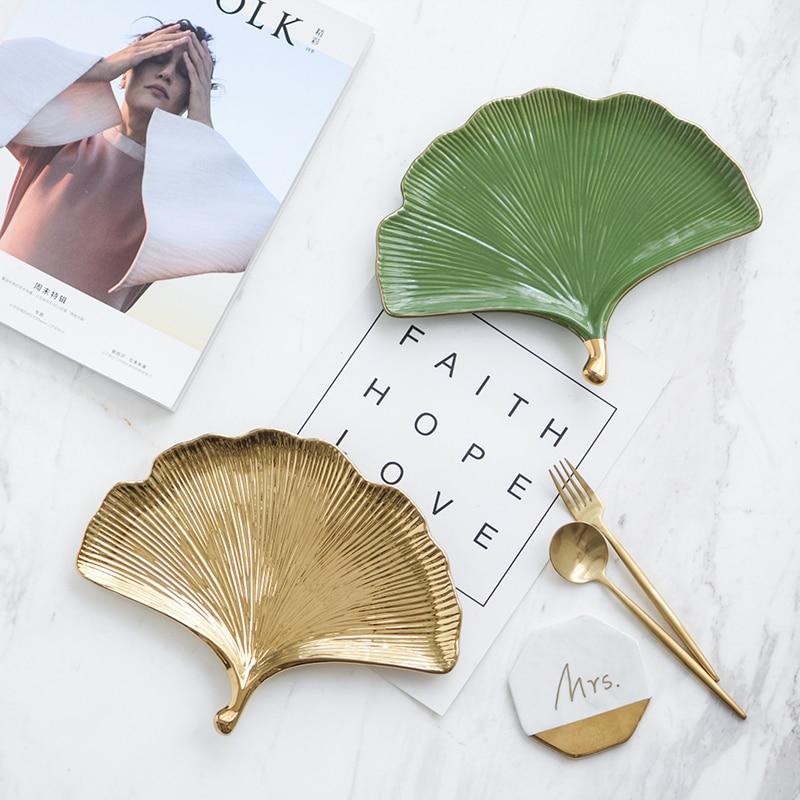 Ginkgo biloba plates jewelry storage box decorative tray food plates for dinner creative design gold inlay leaf