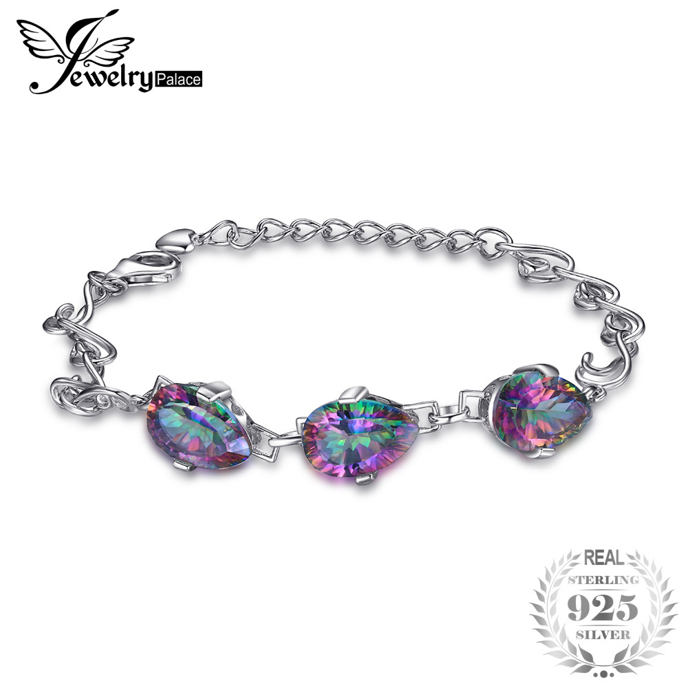 9ct Natural Mystic Fire Rainbow Topaz Bracelet Link For Women Solid Pure Genuine 925 Sterling Silver Concave Pear Fashion Brand jewelrypalace 28ct natural fire rainbow mystic topaz bracelet tennis for women gift love pure 925 sterling silver fine jewelry