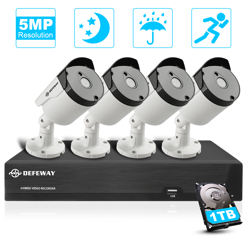 DEFEWAY Video Surveillance 4 Channel HD 5.0MP H.265+ Outdoor Indoor CCTV Security Camera System 4 Camera with 1TB Hard Drive