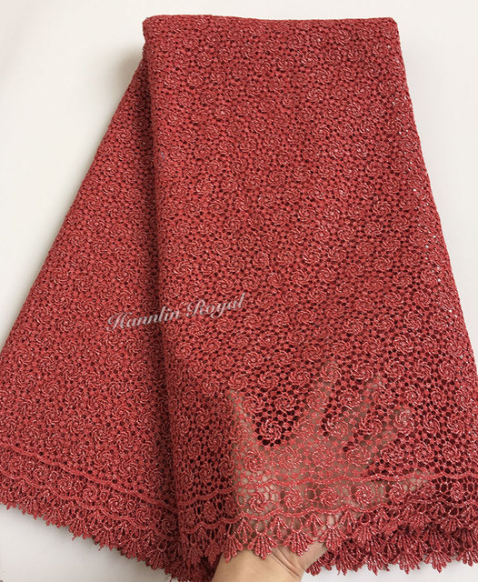 Plain coral red African guipure lace lurex embroidery chemical cord lace  fabric allover small eyelet holes