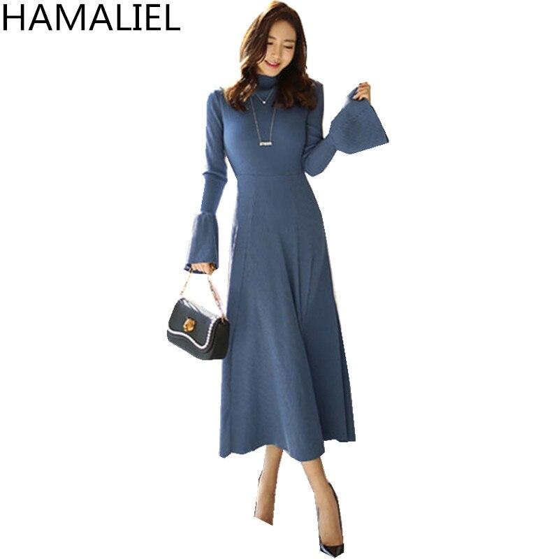 Elegant Women Knitted Midi Party Dress 2018 Korean Autumn Blue Knitting Long Flare Sleeve Slim Stand Collar Sweater Long Dress