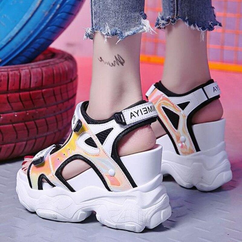 2019 Summer Women 39 s Sandals High Heels Sandals For Women 11CM Heels Gladiator Sandal Wedge Platform Shoes Summer Casual Sneakers in High Heels from Shoes