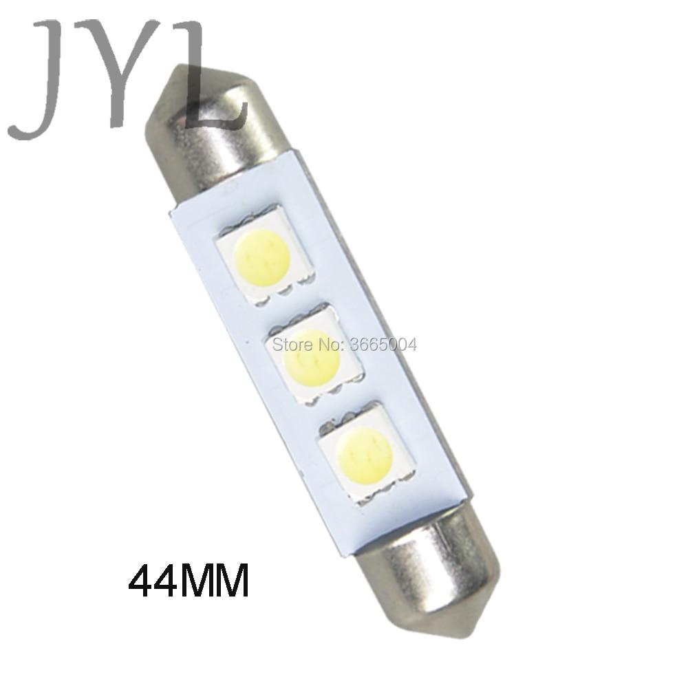 2pcs White 3-5050-SMD 1.73 43mm 44mm Festoon LED Bulbs Interior Map Dome Light