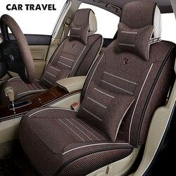 Podróż samochodem len pokrycie siedzenia samochodu dla toyota corolla korona fortuner land cruiser 100 200 mark 2 premio akcesoria samochodowe samochód stylizacji