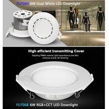 Miboxer 6W Dual White/RGB+CCT LED Downlight FUT060/FUT068 AC86-265V Led panel light dimmable&FUT092/FUT005 remote