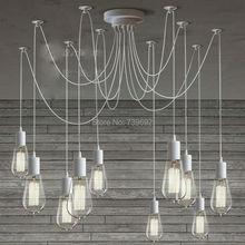 LOFT modern White Lustre chandeliers 6-10 arms Retro Adjustable Edison Bulb DIY E27 Art Spider Lamp luminaire Fixture
