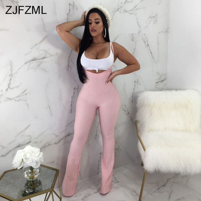 9fe45ed8840 ZJFZML Sexy Two Piece Jumpsuit Women White Round Neck Sleeveless Short Vest  And Casual Spaghetti Strap Vertical Striped Romper