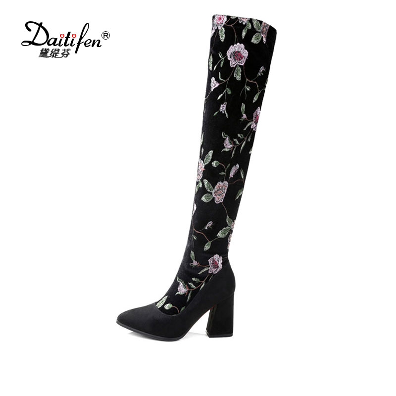 Daitifen 2017 black flowers national style embroidery zip thigh high boots Pointed toe high-heel women shoes over the knee boots qiu dong in fashionable boots sexy and comfortable women s shoes the new national style high heel heel thick heel