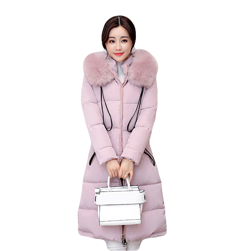2017 New Winter Jacket Women Long Slim Large Fur Collar Hooded Down Cotton Parkas Thick Female Wadded Coat Plus Size 4XL CM1373 winter feather cotton women outwear long section thick section slim hooded coats large fur collar large size down jacket lx165