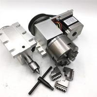 Ось вращения 4th оси бабки полый вал 3 Челюсти токарный патрон 100 мм оси вращения Nema23 шаговый двигатель комплект для маршрутизатора машины