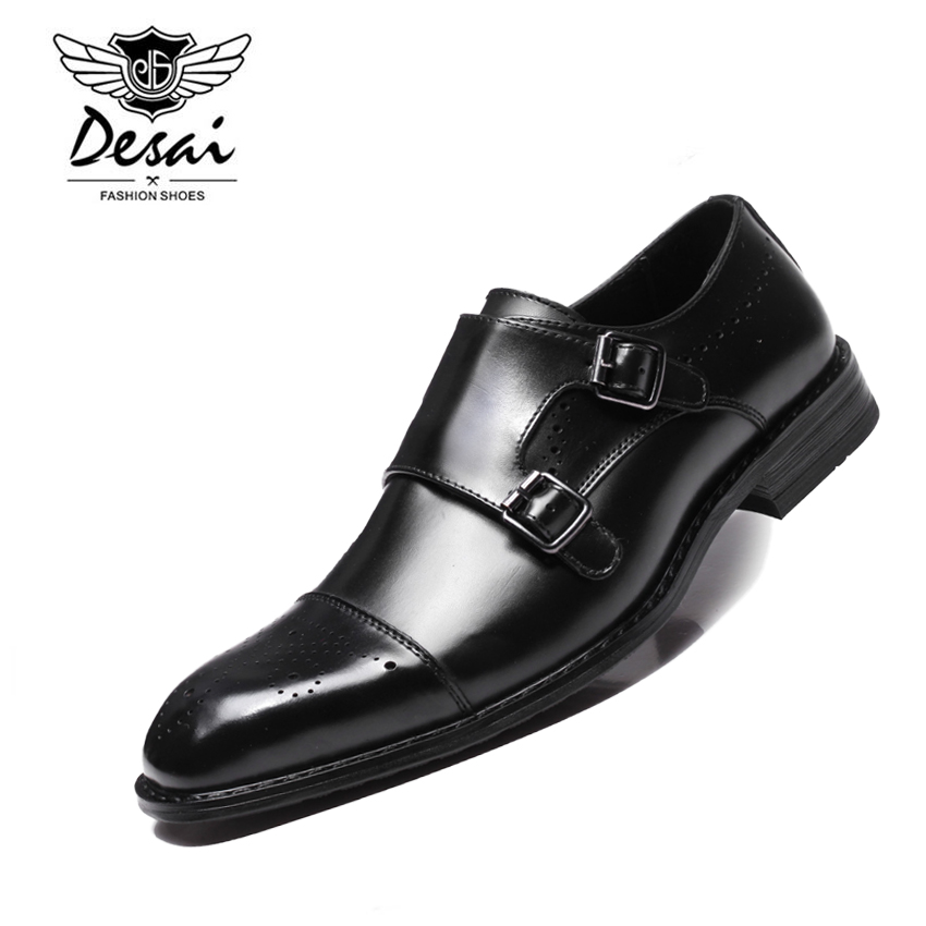 DESAI New Men s British Business Dress Shoes Genuine Leather Formal Brogue Shoes Men Monks Shoes