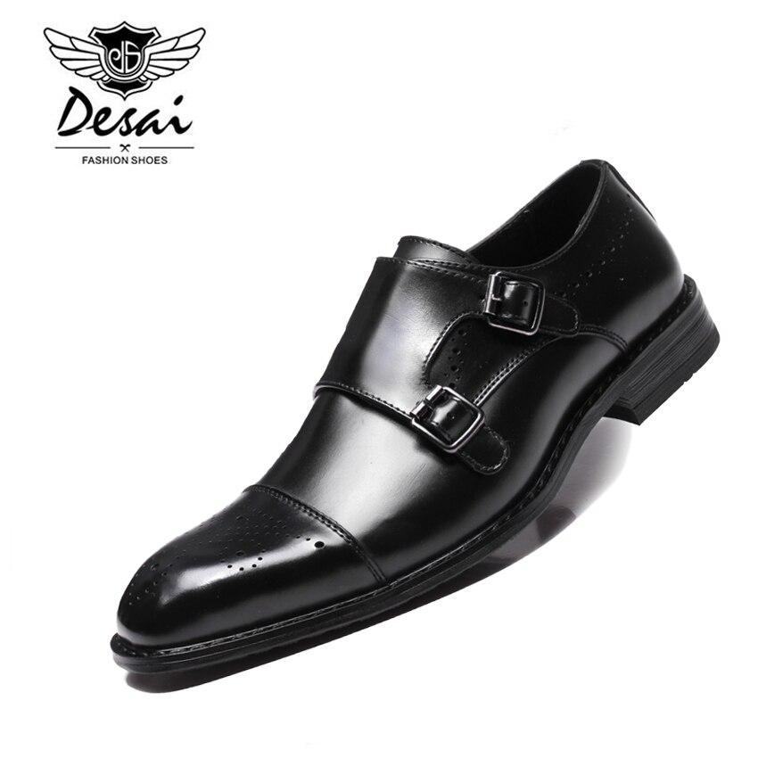 DESAI Neue Männer der Britischen Business Kleid Schuhe Aus Echtem Leder Formale Brogue Schuhe Männer Mönche Schuhe Doppel Schnalle Oxfords Schwarz-in Formelle Schuhe aus Schuhe bei  Gruppe 1