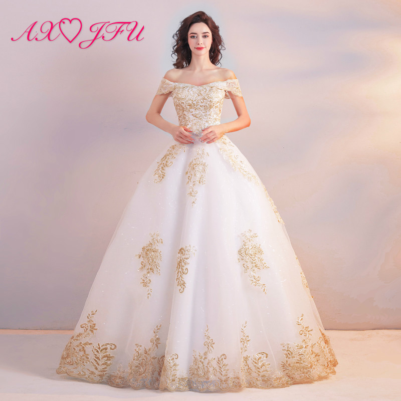 White Wedding Gown Styles: AXJFU Luxury Princess Palace Style Gold Embroidery