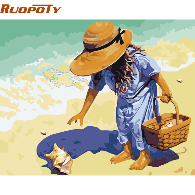 ruopoty beach girl diy painting by numbers wall art acrylic paint