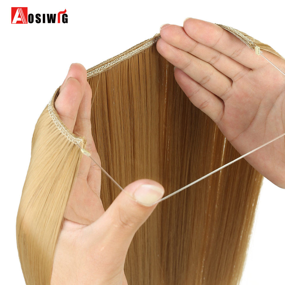 Aosiwig 22 lange Grau Blonde Synthetische Haar Heat Resistant Haarteile Fisch Linie Halo Unsichtbare Welliges Haar Verlängerung Haarverlängerung Und Perücken