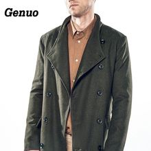 купить Genuo Autumn Winter Coat Men Casual Wool Jackets Coats Male Clothes Hombre Men Wool Blend Overcoats Parka Outfit with Belt дешево