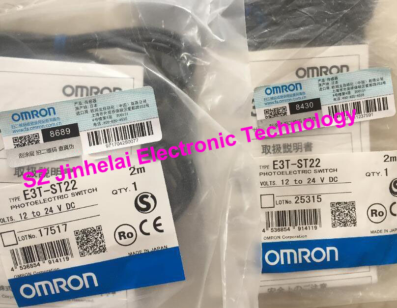 New and original E3T-ST22 OMRON Photoelectric switch Photoelectric sensor 2M 12-24VDC new and original e3t sl21 e3t sl11 omron photoelectric sensor photoelectric switch 12 24vdc 2m