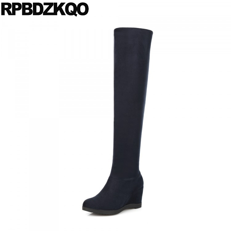 Big Size Slip On Navy Blue High Heel Hidden Fashion Wedge Fur Long Winter Over The Knee Suede Slim Thigh Women Boots Shoes 10 nayiduyun new thigh high shoes women wedge slip on over the knee boots high heel punk sneaker oxfords platform riding greepers