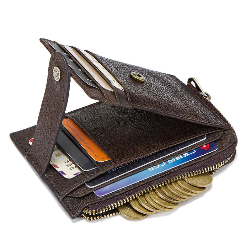 CONTACT'S genuine leather credit card holder Rfid vintage male coin pocket purse mini wallet porte carte business card holders 3
