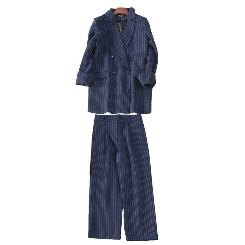 Spring Autumn 2019 New Striped Suit Jacket Casual Broad-legged Ninth Pants Suit Two-piece Suit for Women