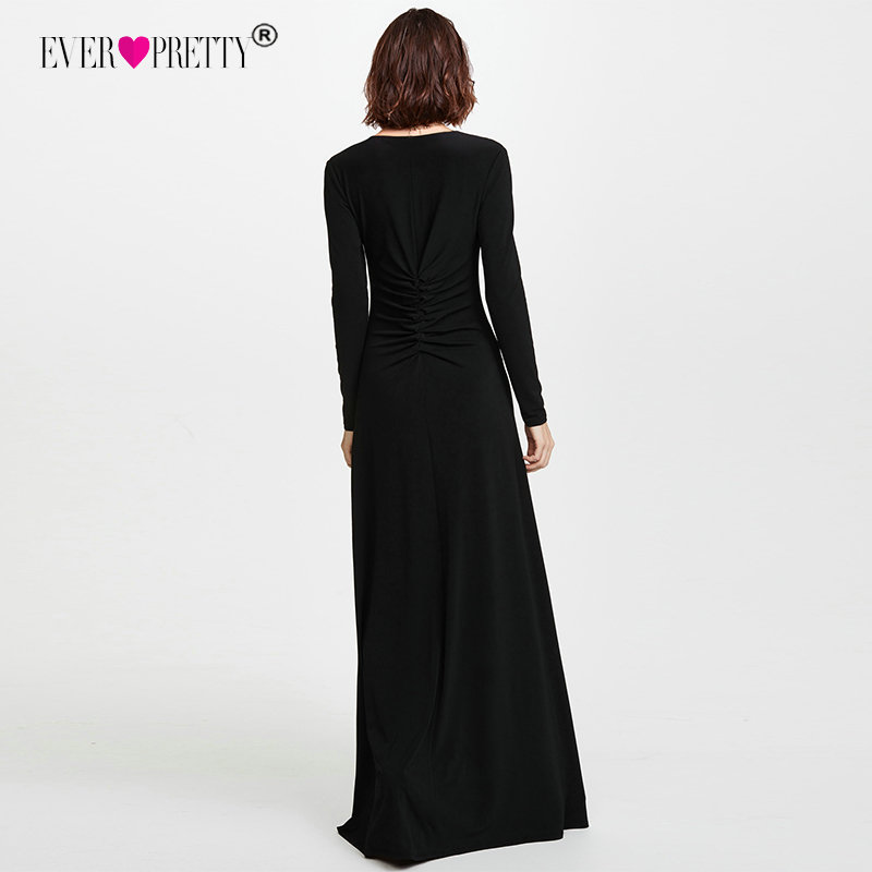 8480218fc625d US $24.99 45% OFF|Long Sleeve Black Prom Dresses 2018 Elegant Winter Autumn  V neck Leg Slit Special Occasion Dresses Sexy Plus Size Prom Dresses-in ...