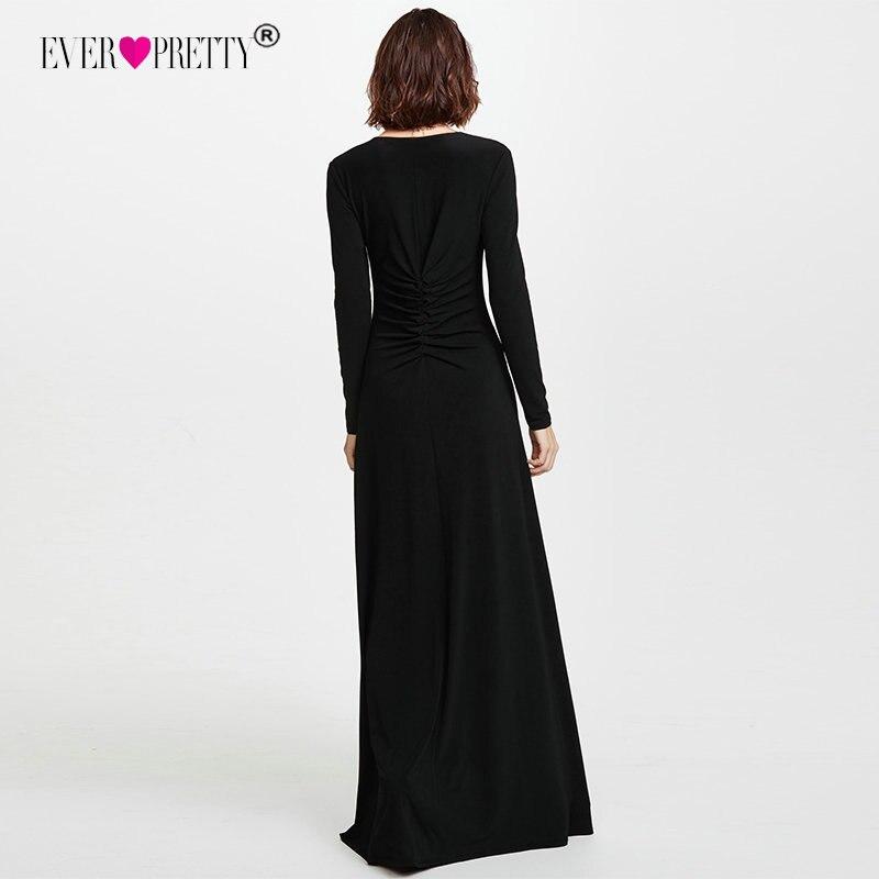 6818395fbc Vestidos de graduación negros de manga larga 2018 elegantes de invierno  otoño con escote en V y hendidura para ocasiones especiales vestidos sexis  de ...