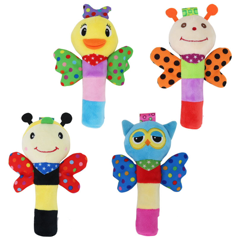 Baby Cute Hand Grasp Plush Rattle BB Stick Wings Handbell Insect Bee Appease Stuffed Toy Intelligent Kids Gifts