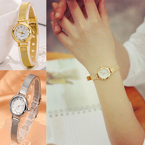 Fashion Quartz Alloy Slim Mesh Band Bracelet Dress Women Girl Wrist Watch Gift