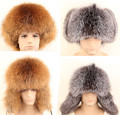 Men's bomer hat genuine leather hats natural silver fox fur hat raccoon fur Russian male winter genuine leather thermal ear