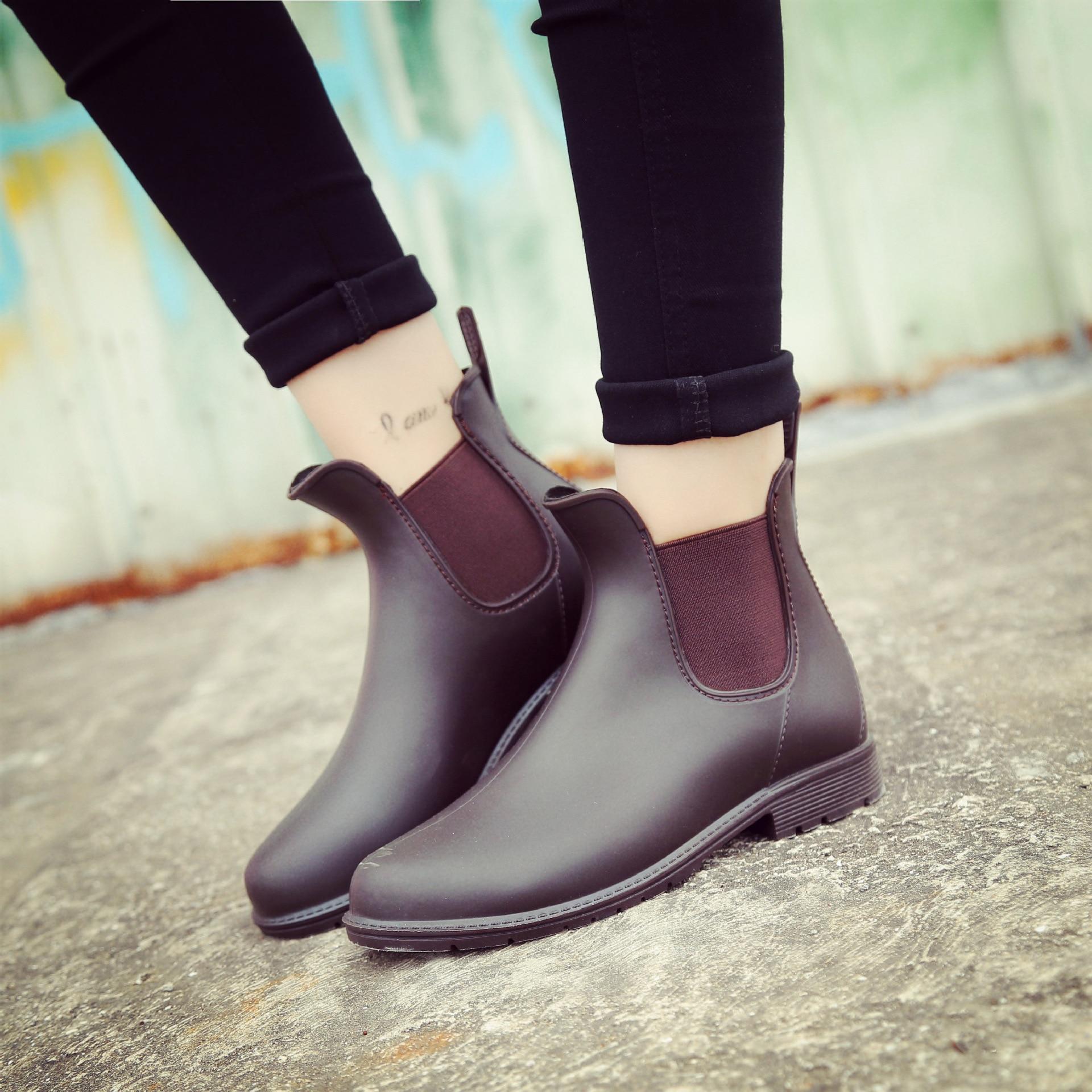 En Slip Cheville Non Femmes De Caoutchouc on Solide Bout Bottes Rond Pluie Imperméables marron slip Chaussures Rainboots Faible Noir 70g7xvrwq