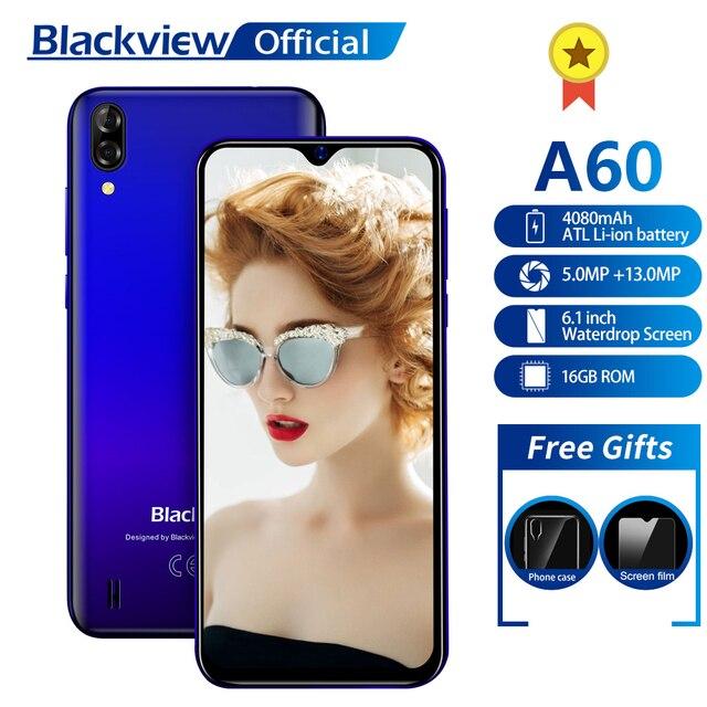 Blackview A60 смартфон Quad Core Android 8,1 4080 мАч мобильный телефон 1 Гб + 16 Гб 6,1 дюймов 19,2: 9 экран Двойная камера, 3G, с функцией мобильного телефона