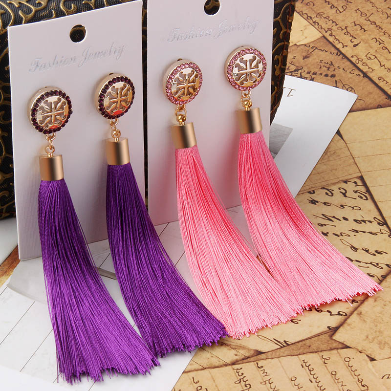 2018 New Fashion Tassel Earrings Bohemian Boho Long Exaggerated Black White Blue Red Pink Silk Fabric Dangle Earrings For Women
