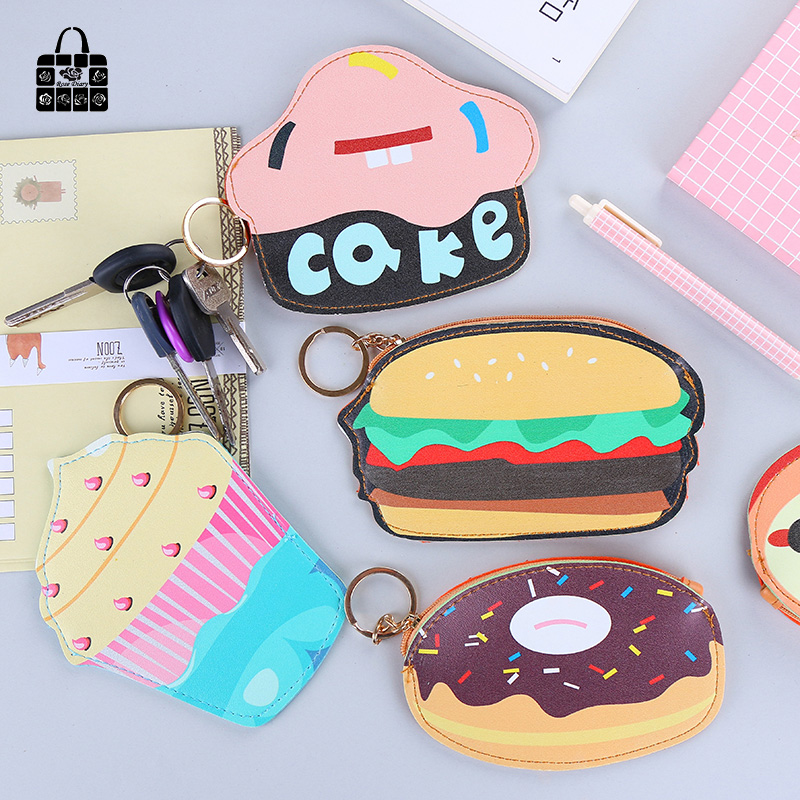 ROSEDIARY New cute creative cake Hamburg pu leather zero wallet child girl boy women purse,lady zero wallets,coin bag