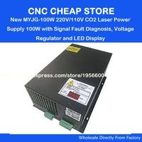 220V/110v NEW MYJG100W 80W 100W EFR Reci Weiju CO2 laser power supply unit PSU with LED Currency mA Engraving Cutting Machine