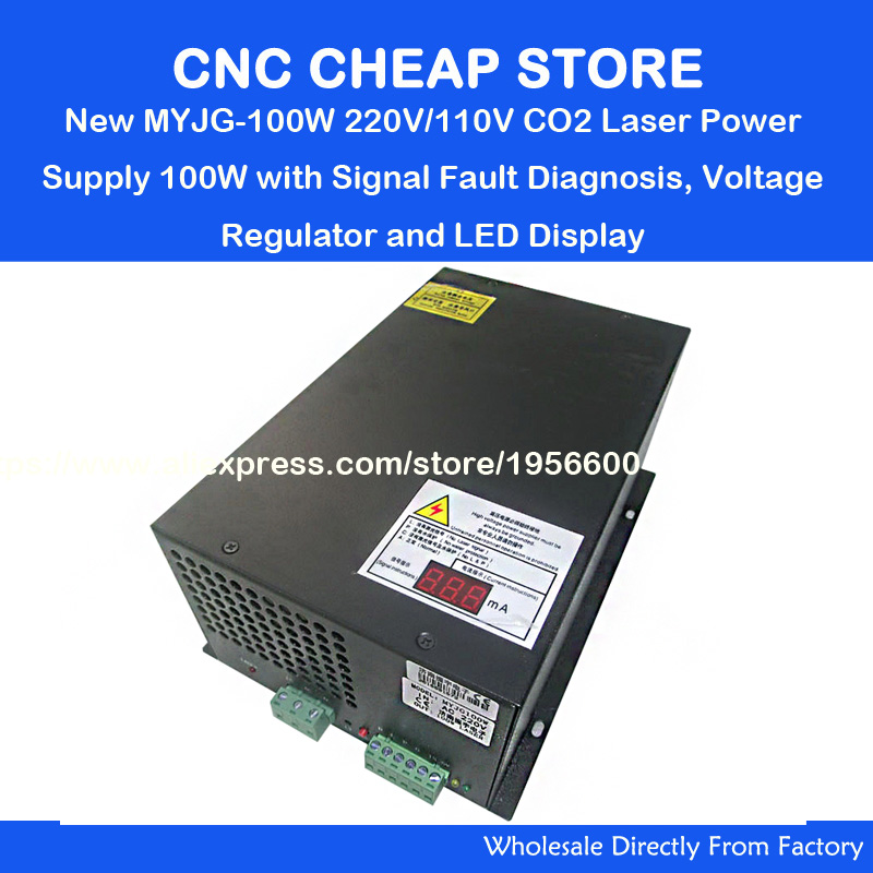220V/110v NEW MYJG100W 80W 100W EFR Reci Weiju CO2 laser power supply unit PSU with LED Currency mA Engraving Cutting Machine yongli efr co2 40w water cooling tube laser power supply 110v 220v high voltage for engraving cutting machine psu myjg 40w