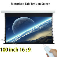 100 Inch 2214x1245mm Viewable Size Tab Tension Projection Screens With Tubular Motor Remote Control Projector Screen