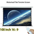 100-inch 2214x1245mm Viewable Size Tab-tension Projection Screens With Tubular Motor Remote Control Projector Screen