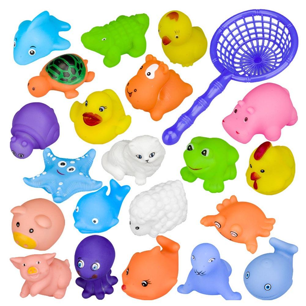 20 PCS Summer Funny Baby's Bath Toy Cute Cartoon Animal Shape Water Toys For Children Kid Can Make Sound
