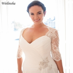 Weilinsha Cheap Plus Size Wedding Dress Half Sleeve Lace Chiffon Bridal Gowns Custom Vestidos De Novia 2