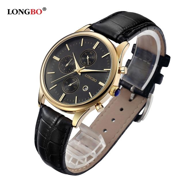 2017 New LONGBO Brand Casual Business Lovers Watch Gold Leather Strap Alloy Waterproof Quartz Watch Women moda mujer 80061