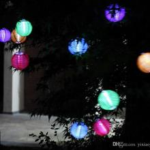 25cm10inch Chinese Lanterns Style Led Solar Lamps Paper Lantern Garden Courtyard Ball Light For Christmas Wedding