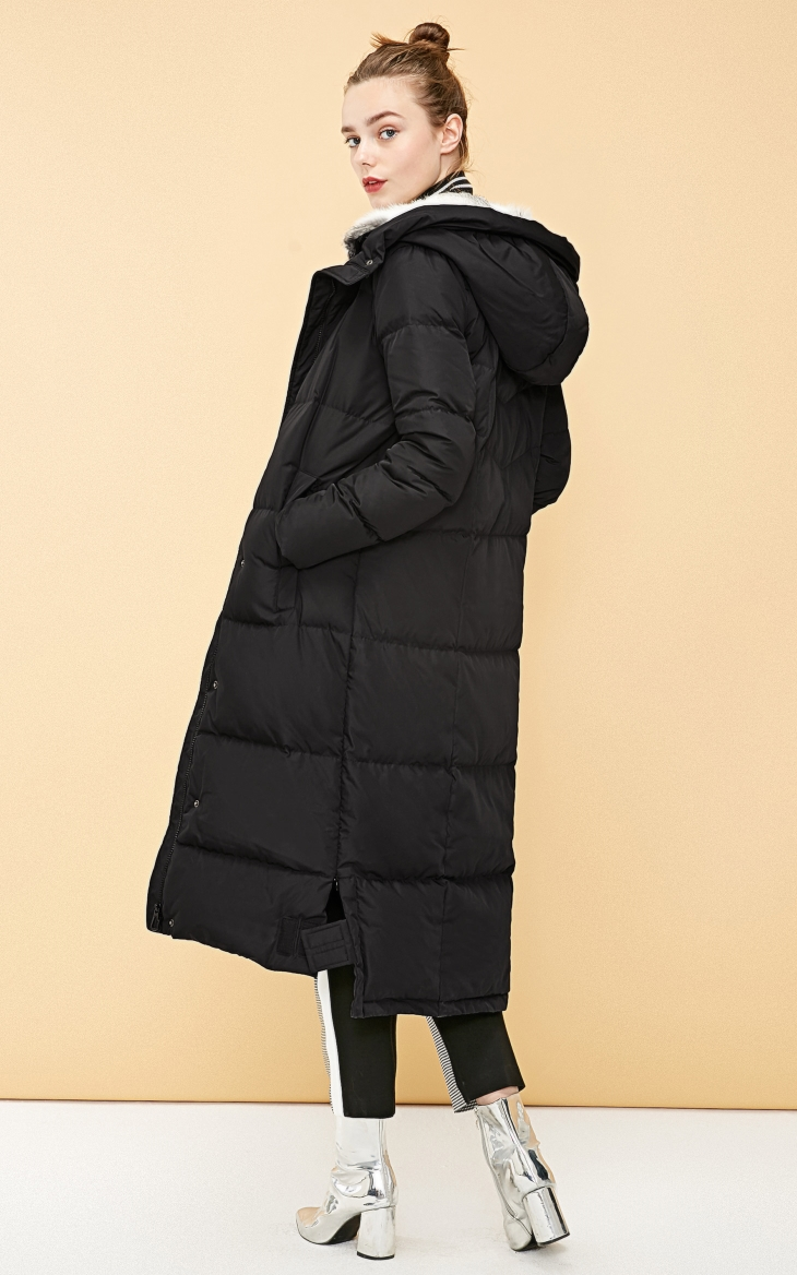 Vero Moda new detachable rabbit fur hooded long down jacket women   318312503 19