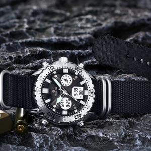 Image 2 - GOLDENHOUR montre bracelet pour hommes, montre bracelet analogique en toile, numérique à double affichage, étui en argent, à la mode Sports de plein air, style militaire