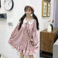 Pink Lolita Dress Long Sleeves High Waist Doll Collar Lace Cuff Cute Sweet Girls Women Dress 0923