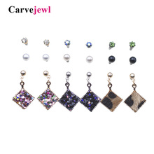 Carvejewl Mixing Crystal Simluated Pearl Stud Earrings 9 Pair/Set Shiny Lots of Earrings Jewelry For Women Girls gift  Wholesale стоимость