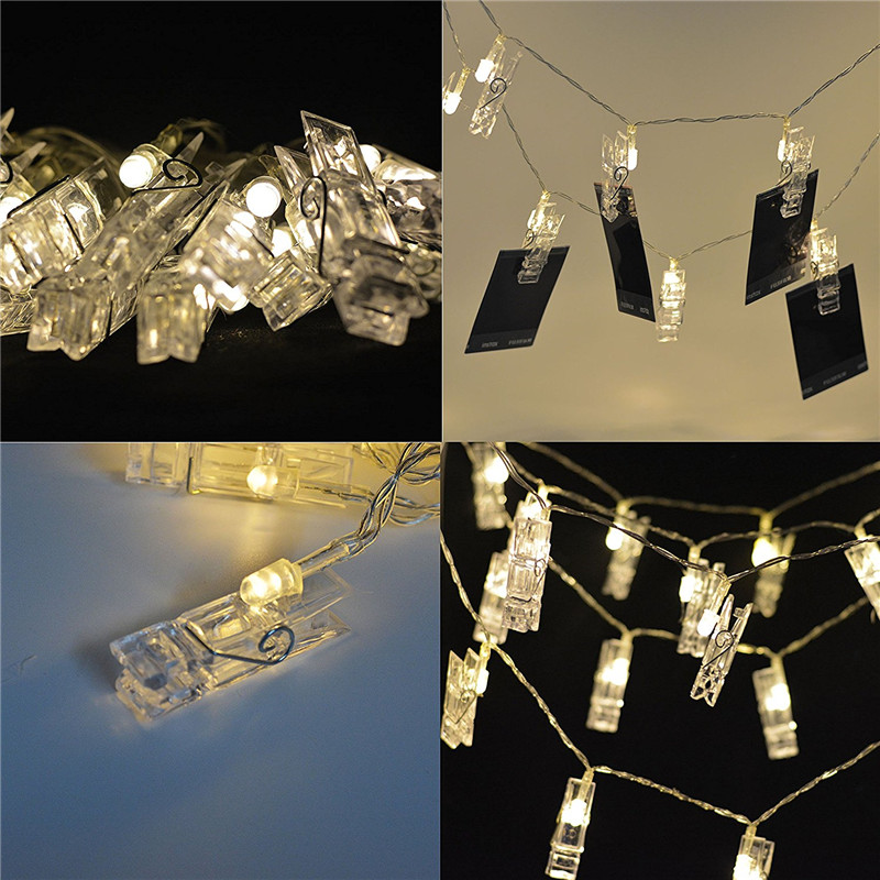 10 20 40 LED Garland Card Photo Clip Led String Fairy Lights Battery Operated Christmas Garlands Wedding Valentines Decoration in LED String from Lights Lighting
