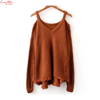 open shoulder long sleeve special suspender knitting pullovers large size draped dip knitted tassel tops