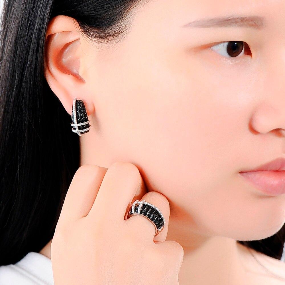 SANTUZZA ensembles de bijoux Pour Femmes Nature Pierre Noir Spinelles Blanc CZ Pierres Anneau ensemble de boucles d'oreilles 925 Sterling Argent bijoux tendance - 6