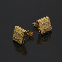 High Quality Square Micro Paved Stud Earring Gold Color Cubic Zirconia Bling Bling Push Back Earrings