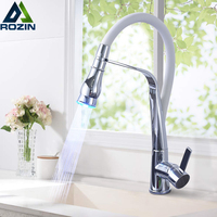 LED Color Kitchen Faucet Rubber Design Chrome Mixer Faucet for Kitchen Pull Down Deck Mounted Hot Cold Crane for Sink Taps